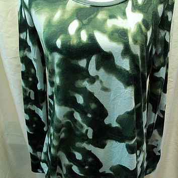 Simply Vera Wang Long Sleeve Green 100% Polyester High Low Womens Size M Top