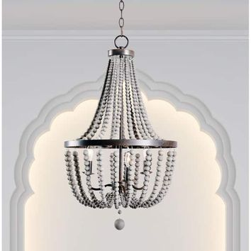 Design Craft Zander Golden Bronze 3 Light Wood Bead Chandelier | Overstock.com Shopping - The Best Deals on Chandeliers & Pendants