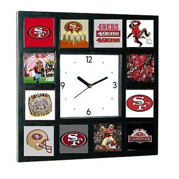 History of San Fransico 49ers logo Clock with 12 pictures