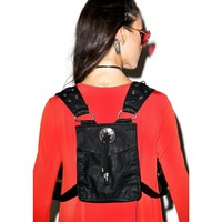 Ghost Dancer Leatherette Lace Up Harness With Backpack