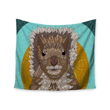 "Art Love Passion ""Squirrel"" Teal Brown Wall Tapestry"