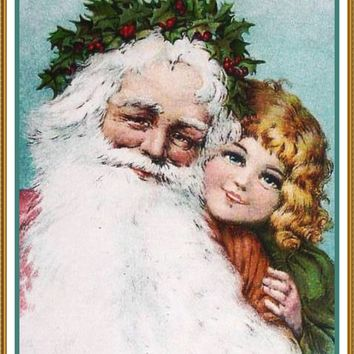 Girl Santa Claus Frances Brundage Holiday Christmas Counted Cross Stitch or Counted Needlepoint Pattern