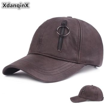 Trendy Winter Jacket XdanqinX Autumn Winter Men's Hat Faux Leather Baseball Caps Personality Hip Hop Women's Caps Adjustable Size Snapback brand Hats AT_92_12