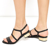 Black Leather Strappy Metal Block Heel Sandals
