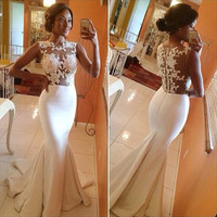Free Shipping Elegant Women Lace Party Dresses Ball Prom Gown Formal Trumpet Fishtail Mermaid Maxi Long Dress White 10
