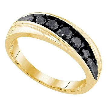 10kt Yellow Gold Men's Round Black Color Enhanced Diamond Band Ring 3/4 Cttw - FREE Shipping (US/CAN)