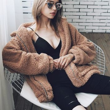 2017 autumn winter warm boho women Faux Fur Coat long sleeve zippers Women loose soft Fluffy jacket Casual female outerwear 3XL