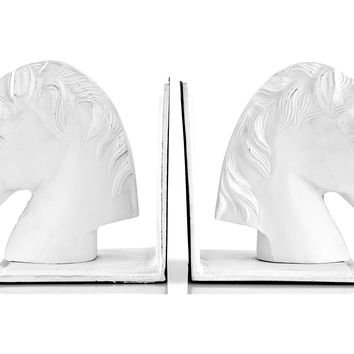 Pair of Horse Head Bookends, White, Bookends