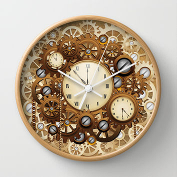 Steampunk Vintage Style Clocks and Gears Wall Clock by BluedarkArt