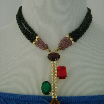 Beautiful & Colorful Bejeweled Gold Lavender Black Glass Bead And Chunky Faceted Emerald Ruby Amethyst Citrine Rhinestones Cocktail Necklace