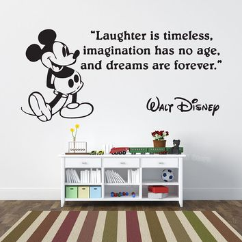 Mickey Mouse Laughter Quote Wall Decal Sticker Dream Forever Art Vinyl Mural Home Decor Kids Room Playroom Nursery Decals Z325