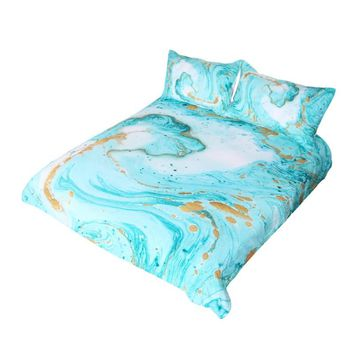 Chic Girly Marble Duvet Cover Mint Gold Glitter Turquoise Bedding Comforter Set Abstract Aqua Teel Blue Quilt Cover