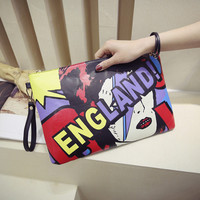 Fashion Pu Woman envelope Day Clutches women Character England letter bag baby letter bag