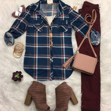 Penny Plaid Flannel Top: Teal/Blush