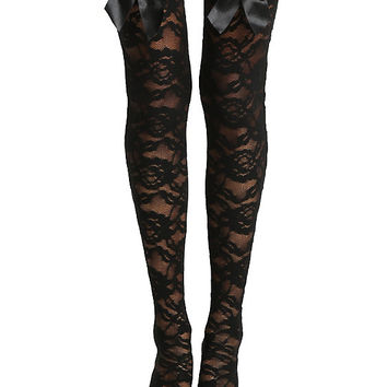 Blackheart Lace 3D Bow Thigh Highs