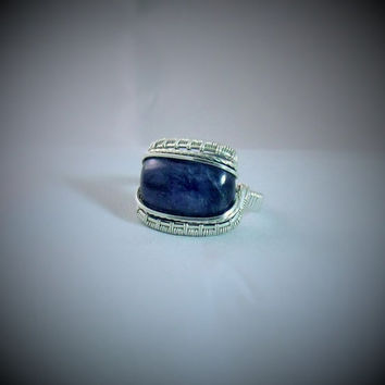 Blue Ring Wire Wrap Kyanite Stone 925 Sterling Silver Size 9 Handmade Heady Jewelry Kynd Valley Metaphysical Healing