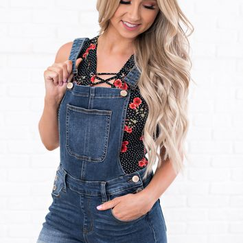 Free At Last Denim Short Overalls (Medium Wash)