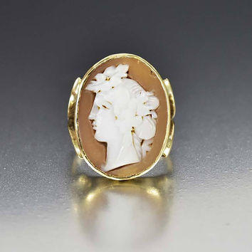Large Carved Shell Cameo Gold Victorian Antique Ring