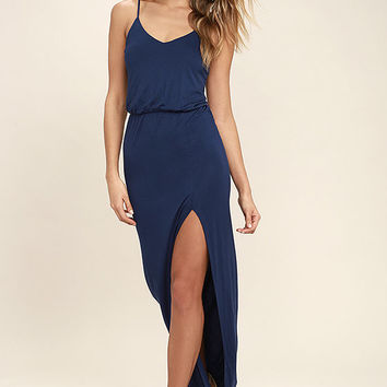 Watch the Sunset Navy Blue Maxi Dress