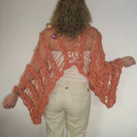 Orange multifunctional knitted coat-poncho