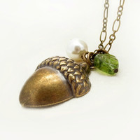 Pearl and Leaf Acorn Necklace