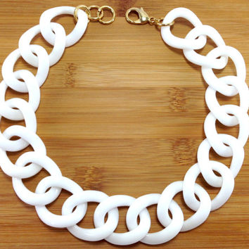 Chunky White Necklace, Chloe White Link Chain Necklace, Statement Necklace, White Necklace, Resin Necklace, Acrylic Necklace, Snow
