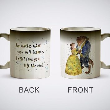 Beauty and the Beast mugs Belle coffee mugs heat reveal cup gifts magical heat sensitive Black color change magic beer Tea mugen