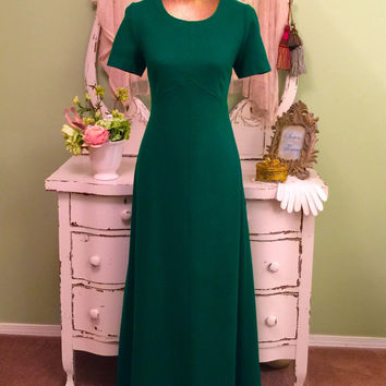 70s Boho Kelly Green Dress, 1970s Emerald Gown, Bohemian Long Dress, Elegant Vintage Dress, Soft Wool Mix, Perfectly Tailored,  Women's M/L