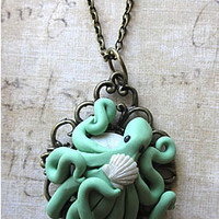 Nouveau Octopus - Pearl Mint , Cameo Necklace, Skull Cameos, Gothic Necklaces, Horror Necklaces, Psychobilly Necklaces, Goth Necklaces, Ribcage Necklaces, Punk Rock Neclaces, Punk Necklaces Jewelry
