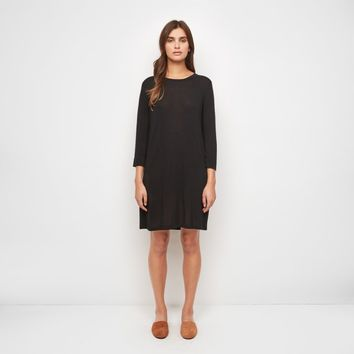 Cashmere Jersey 3/4 Sleeve T-Shirt Dress - Black