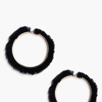 Josie Faux Fur Hoop Earrings | Boohoo