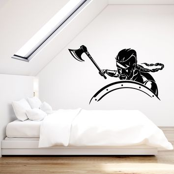 Vinyl Wall Decal Viking Warrior With Ax Shield Stickers (2345ig)
