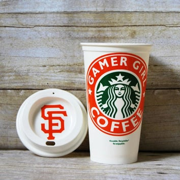 Gamer Girl Starbuck's Cup - Custom Reusable Coffee Cup - Baseball Season is Coming! - Personalized Coffee Cup - Baseball Fan