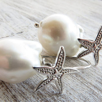 Baroque pearl earrings, starfish earrings, 925 sterling silver earrings, bridal earrings, drop earrings, wedding jewelry, dangle earrings