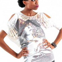 Animal Print Rhinestone Open Sleeve Tee - Diva Hot Couture