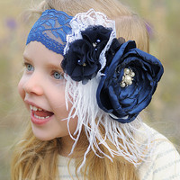 Navy & White Flower Garden Headband