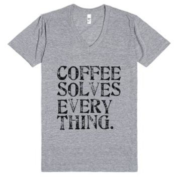 Coffee Solves Everything Tee-Unisex Athletic Grey T-Shirt
