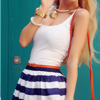 Blue Stripe Casual Spaghetti Strap Top Mini Dress