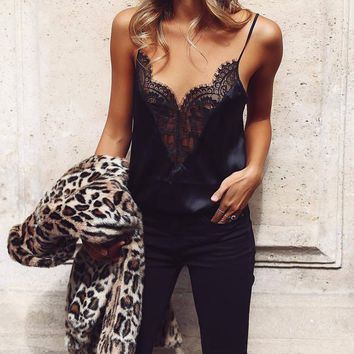 *Online Exclusive* Cami with Deep V-Neck and Lace Detail