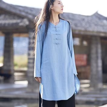 Chinese style Long sleeve Cotton Linen Women Long Blouse Shirt Vintage Original Design Casual Shirt Solid Women Tops Blusas B171