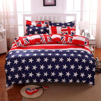 Home Stars Stripes USA Flag 3Pcs Bedding Sets Bedclothes Set Bed Linens Duvet Cover Quilt Cover Flat Pillowcase