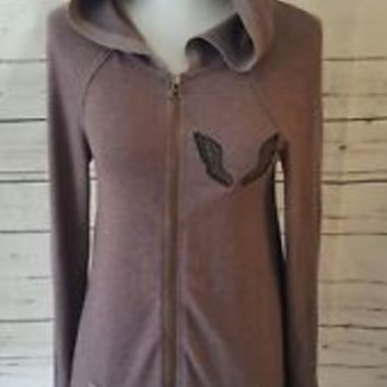 We the Free people Zip Up Hoodie XS Sweatshirt top angel Wings Embroidered