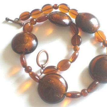 Chunky Amber Glass Beaded Necklace
