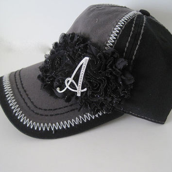 Initial Two Tone Grey and Black Trucker Baseball Cap Hat with Black Chiffon Flowers Custom Order Initial Cap Initial Baseball Trucker Cap