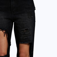 Val High Waisted Dirty Wash Distressed Mom Jeans