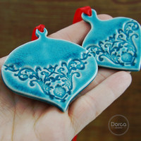 Christmas Ornament Ceramic Bauble Decoration Tree Wall Decor Set of 2