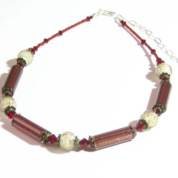 Murano Glass Vintage Style Red Silver Necklace