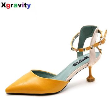 Xgravit Hot European American Rivets Pointed Toe Dress Summer Shoes High Heel 7cm Woman's Elegant Leisure OL Ladies Shoes B281