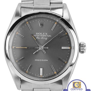 Rolex Oyster Perpetual Air-King Gray Patina Stainless 5500 34mm Watch 14000