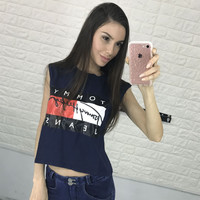 """Tom Hilfiger"" Fashion Sexy Casual Letter Print Short Sleeve T-shirt Tops"